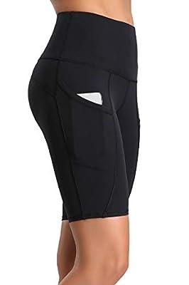 Oalka Women's Yoga Short Side Pockets High Waist Workout Running Shorts Black XL