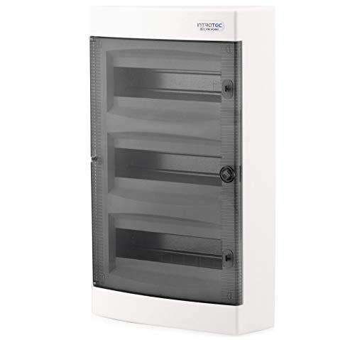 Boîte à fusibles en saillie IP40 Boîtier de distribution 3 rangées jusqu'à 36 modules Porte transparente pour l'installation dans une pièce sèche de la maison