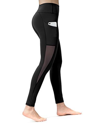 ALONG FIT Leggings Damen mit Taschen, Nicht durchsichtig Sporthose Damen Dehnbar Yogahosen für Damen, Mesh-schwarz, S