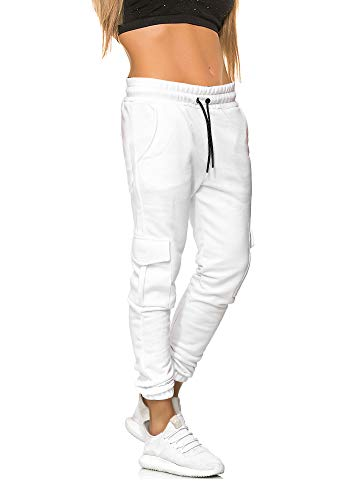 MATKA Damen Frauen just only Jogging Chill Hose zuhuase Jogger Jeans Streetwear Sporthose Modell 1213 Weiss XXL