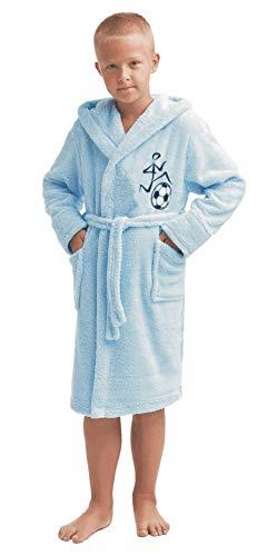 LEVERIE niedlicher Kinder-Bademantel für Jungen und Mädchen (Gr. 98-158), Made in EU (116, Hellblau Fußball)