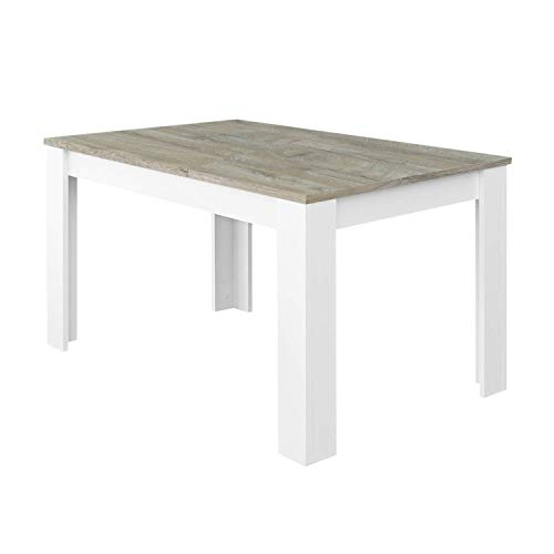 Habitdesign Mesa de Comedor Extensible, Mesa salón o Cocina, Acabado en Color Blanco Artik y Roble Alaska, Modelo Kendra, Medidas: 140-190 cm (Largo) x 90 cm (Ancho) x 78 cm (Alto)