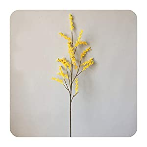 Dream-catching Dresses Artificial Acacia Flowers Yellow Mimosa Cherry Fruit Branch Wedding Party Event Decor Home Table Flower-16 Forks