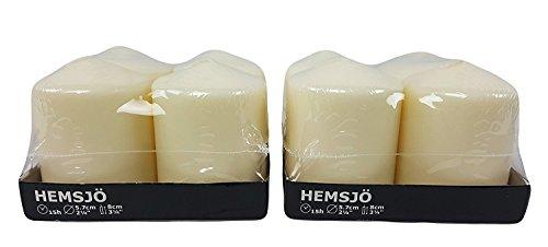 Hemsjo IKEA Vela Pilar Blanco–4Unidades [2Sets de Total de 8Velas]
