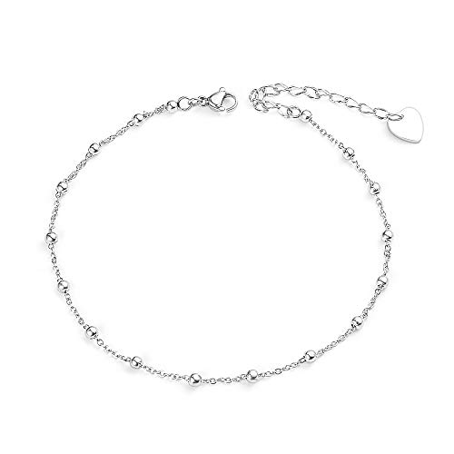VU100 Dainty Cute Silver Ball Beads Ankle Bracelet for Women Girls Chain Anklet Beach Barefoot Sandal Foot Jewellery Adjustable