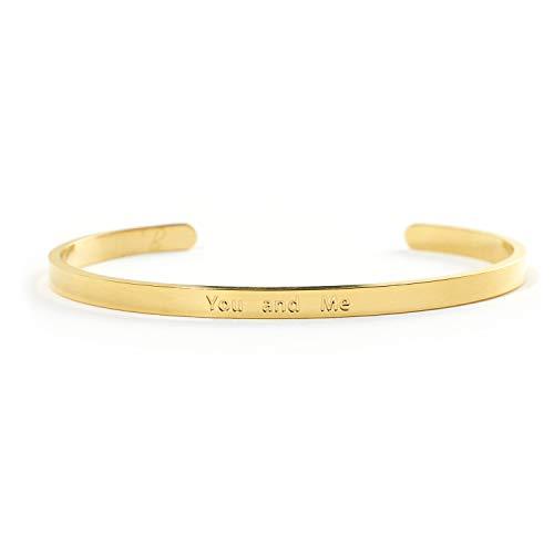 YOU AND ME Partner Armband mit Gravur von Bergerlin – aus Edelstahl in Gold, Silber und Rose Gold – Der Couple Armreif als Geschenk