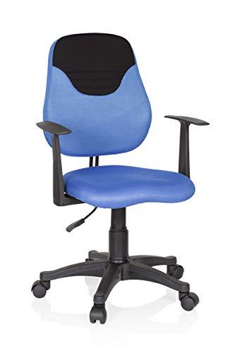 hjh OFFICE 670935 Kinder- und Jugenddrehstuhl KIDDY Style Stoff Blau/Schwarz Drehstuhl Kind mitwachsend
