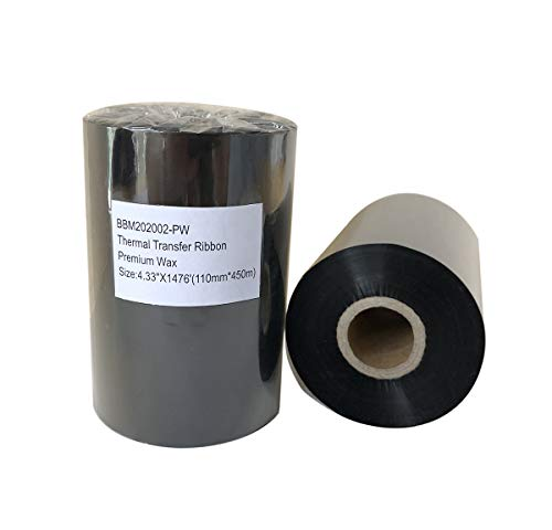 Thermal Transfer Resin Enhanced Wax Barcode Ribbon Black Label Printer 4.33  X 1476 (110mm450m) 1 Roll Compatible for Zebra Datamax Eltron Intermec Sato