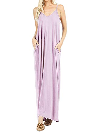 MixMatchy Women's Summer Casual Plain Flowy Pockets Loose Beach Cami Maxi Dress Dusty Lavender 1X