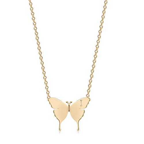 OSIANA Gold Dainty Butterfly Initial Necklace for Women 18K Plated Gold Tiny Cute Letter Pendant Name Alphabet Choker Necklace Minimalist Personality Gift Friendship Jewelry for Her I
