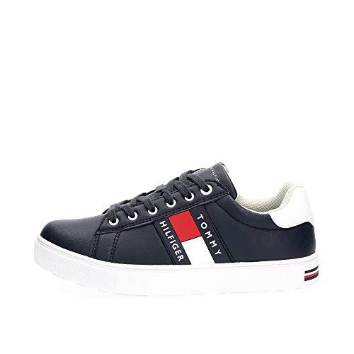 Tommy Hilfiger Kinder Schuhe Low Cut Lace-Up Sneaker Blue/White für Kids, Farbe:Blau, Größe:EUR 32