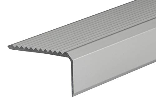 Gedotec Treppen-Kantenprofil selbstklebend Stufen-Kantenprofil Aluminium silber | 1000 mm | Bodenprofil ungelocht zum Kleben | Winkel-Schutzprofil 41 x 23 mm | 1 Stück - Alu Winkelprofil mit Rillen
