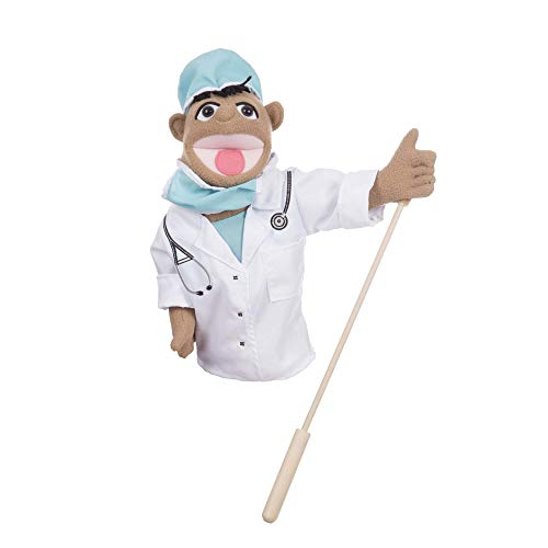 Melissa & Doug Surgeon Puppet with Doctor Scrubs & Detachable Wooden Rod for Animated Gestures