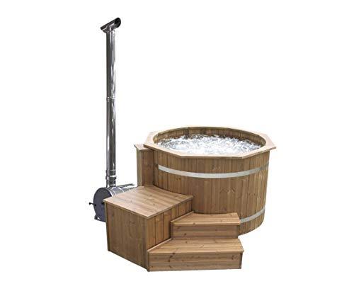 bambus-discount.com Hot Tub Set4 Standard mit Holzofen, Durch. 150cm - für Holzbadefass Badefässer Badefass für draussen Badetonne Hot Tubs Badebottich Holzbadewanne