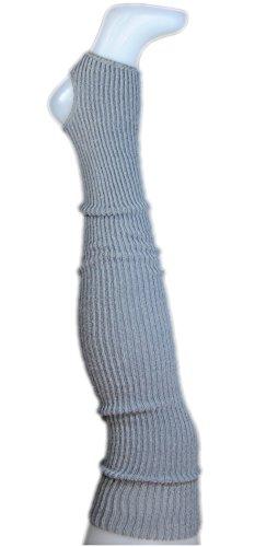 AVIDESO Stulpen Damen Overknee + Fersenloch - Overknees Beinlinge Strick Flauschig Weich Legwarmer Tanzstulpen Mädchen grau