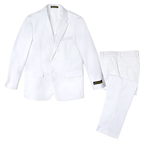 Spring Notion Big Boys' Two Button Suit White 14 Jacket and Pants