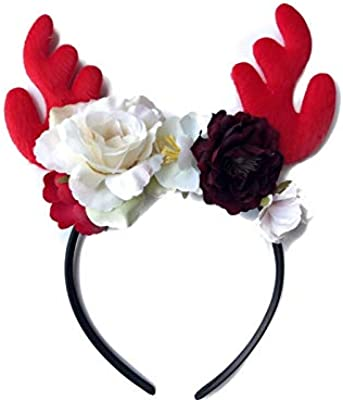 Wetietir Flowers Bouquet Antlers Flower Christmas Hairband Headband Christmas Party Costume Accessory Bridal Decoration