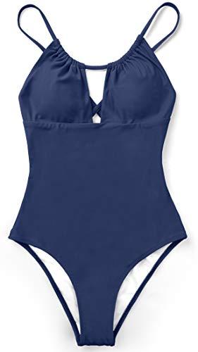 Sociala Women's Cutout One Piece Swimsuits High Leg Strappy Padded Monokini Swimwear Backless Navy Small