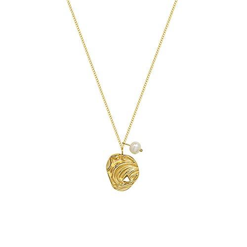 ShSnnwrl Colgante Collares Pendientes Irregulares de Arte Abstracto para Mujer, Collar de Perlas de Agua Dulce pequeñas Reales, g