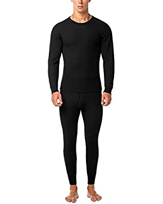 LAPASA Men's Thermal Underwear Long John Set Waffle Knit Base Layer Top and Bottom M60 (X-Large, Black)