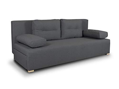 Schlafsofa Nessa - Klappsofa mit Bettkasten, Sofa mit Schlaffunktion, Bettsofa, Schlafcouch, Couch, Couchgarnitur, Sofagarnitur, Wohnzimmer (Graphit (Inari 94))