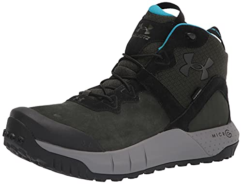 Under Armour Men's Micro G Valsetz Mid LWP Hiking Boot, Baroque Green (300)/Concrete, 10.5