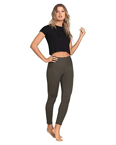 Leonisa high Waisted Compression Slimming Leggings for Women and Anti Cellulite Green