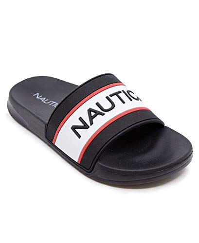 Nautica Kids Youth Slip-On Sandal Athletic Slide - Big Kid - Little Kid Boys - Girls-Anthory-Black Red-3