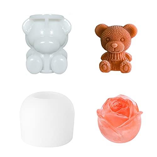 AnCoSoo Cubitera de silicona con forma de oso y rosa, 2 paquetes, sin BPA, grande, para café, bebidas frías, whisky y cócteles.
