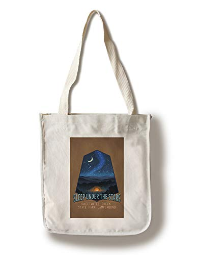 Sweetwater Creek State Park Campground - Sleep Under the Stars - Tent and Night Sky - Contour 106369 (100% Cotton Tote Bag - Reusable)