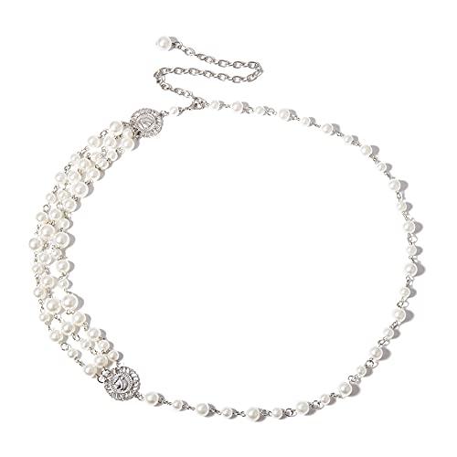 Collar para mujer con perlas para retrato de la cintura, aleación de punk, varias capas, ideal como regalo de aniversario/cumpleaños/día de San Valentín/aniversario de boda