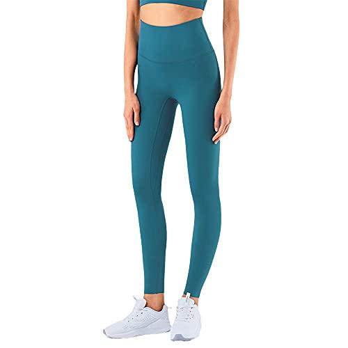 Damaifirstes Los primeros pasos con el entrenamiento de pantalones de yoga desnudos, ajustados y de cintura alta para hacer deporte., verde, XL delgado