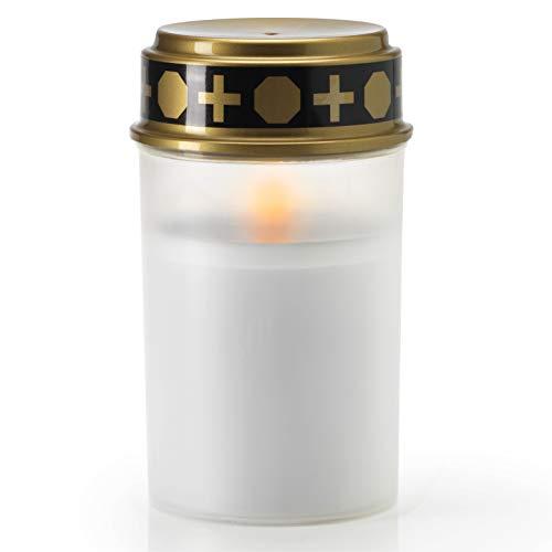 KELOPEST® LED Grablicht weiß mit Batterie und 6 Monaten Leuchtdauer - LED Grabkerze mit realistischem Flackereffekt