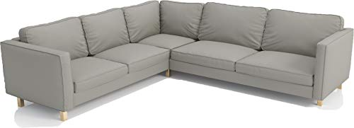 The Heavy Duty Polyester Karlstad Corner Sofa Cover ( 2+3 / 3+2 ) Replacement, is Custom Made Compatible for IKEA Karlstad Sectional Slipcover Replacement (Light Gray Polyester Sectional)