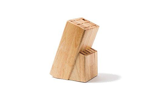 HEISO Universaler Messerblock mit vielen Schlitzen aus hochwertigem Gummibaumholz