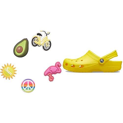 Crocs Classic Zuecos, Unisex Adulto, Amarillo (Lemon), 37/38 EU + Jibbitz 5 Pack Encantos para Zapatos, Personalizar con Jibbitz para Crocs Sunny Days, Talla Única