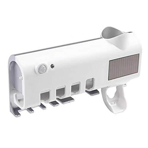 Lilon Desinfectante UV para cepillos de dientes, soporte para cepillos de dientes para baño montado en la pared con función de esterilizador, organizador de cepillos de dientes para damas y bebés