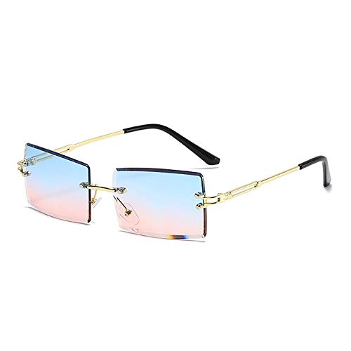 APCHY Gafas De Sol Rectangulares Retro para Mujeres Y Hombres Gafas Cuadradas Pequeñas Vintage De Moda Monturas Sin Montura Lentes Gafas Protección Ultraligera UV400,B