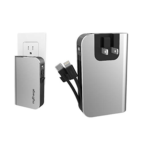 myCharge Portable Charger Power Bank - HubMax 10050 mAh Universal External Battery Pack | Foldable AC Wall Plug | Two Built in Cables for Apple (iPhone Lightning) & for Samsung USB Type C (Android)