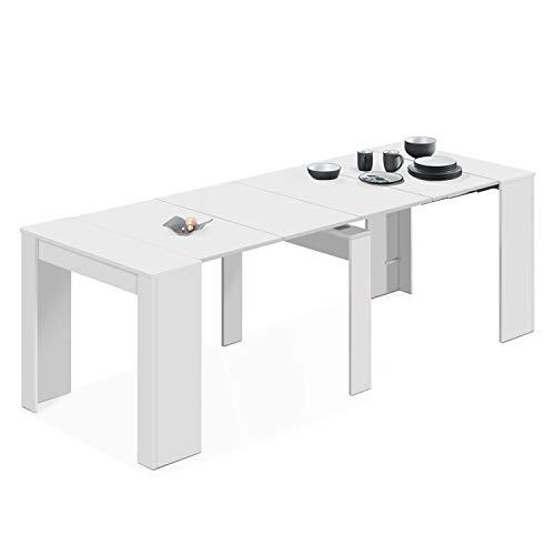 Habitdesign - Mesa de Comedor Consola Extensible, Mesa para Salon recibidor o Cocina (Blanco Brillo)