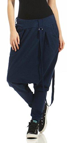 Malito Damen Haremshose mit tiefem Schritt | Jogginghose in Unifarben | Baggy zum Tanzen | Sweatpants - Aladinhose 91086 (dunkelblau)
