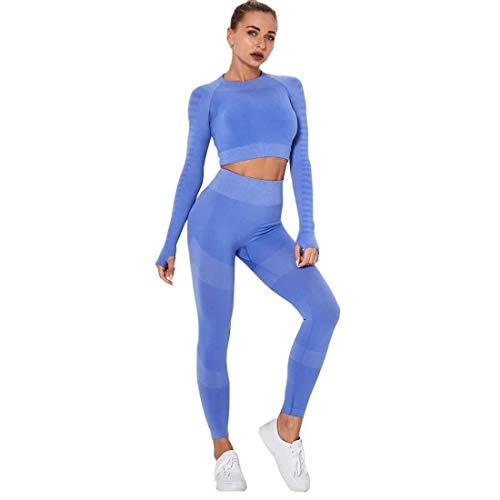 Conjunto de 2 piezas sin costuras para entrenamiento, yoga, gimnasio, manga larga y leggings
