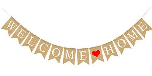 Welcome Home Banner Pancartas Bienvenida Guirnalda,Banner de cola de golondrina,Bunting Banner Papel para Decoración Hogar Fiestas Ceremonias Cola de golondrina