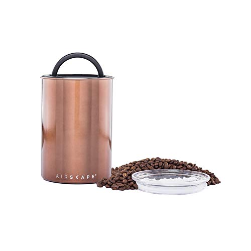Airscape Coffee and Food Storage Canister - Patented Airtight Lid Preserve Food Freshness with Two Way CO2 Valve, Stainless Steel Food Container, Mocha Brown, Medium Can
