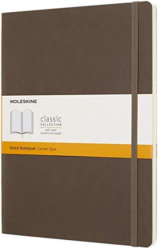 Moleskine Classic Notebook, Taccuino a Righe, Copertina Morbida e Chiusura ad Elastico, Formato XL 19 x 25 cm, Colore Marrone Terra, 192 Pagine