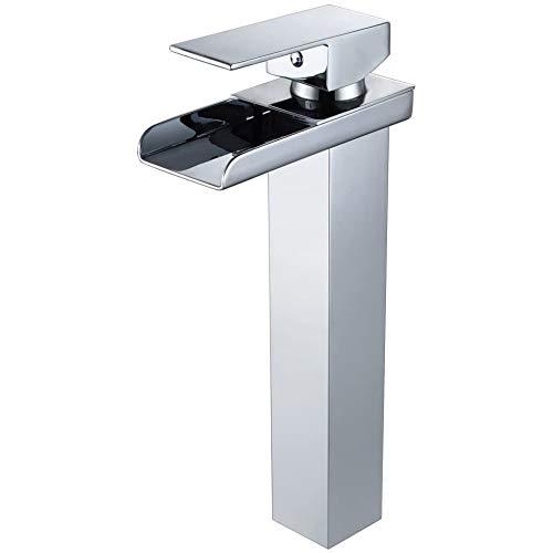 Wovier - Grifo monomando para lavabo (cromo, cascada, con manguera de entrada, grifo mezclador para lavabo de cuerpo inclinado, cuerpo alto)