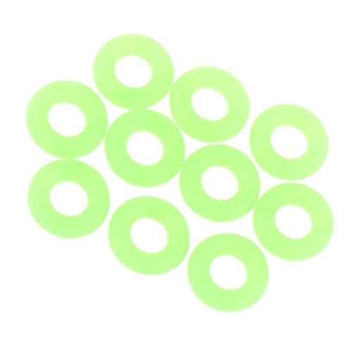 CUTICATE 10 x Grün Camping Nagel Silikonring Zelt Leuchtringe für Erdnagel oder Camping Seil - L