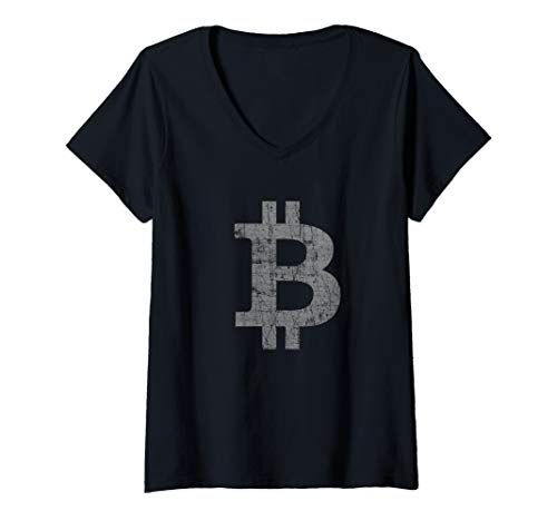 Womens Bitcoin Cryptocurrency Blockchain V-Neck T-Shirt