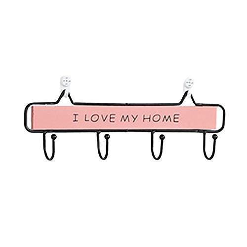 Creamon Massivholz Haken, Massivholz Haken Dekorative Haken Wandbehang Rack für Coat Key Handtücher Pink