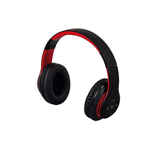 Maginon BTH-3 Kopfhörer mit Bluetooth, kabelloser Over-Ear Kopfhörer (Headset) mit Telefonfunktion in schwarz/rot (scharz/rot)